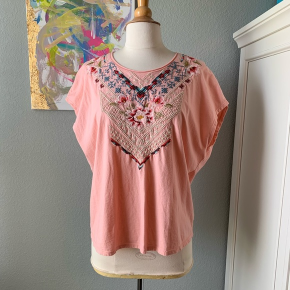 Johnny Was Peach Coral Embroidered Tee Shirt